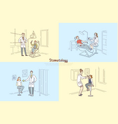 stomatology clinic people at dentist office vector image