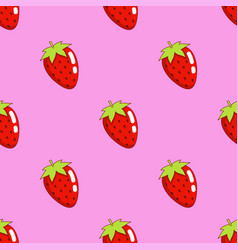 strawberry seamless pattern isolated on pink vector image