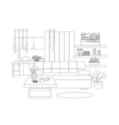 Studio apartment interior vector