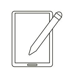 tablet pen digital technology outline vector image