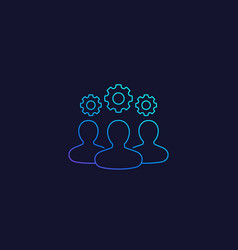 Team interaction and management line icon vector