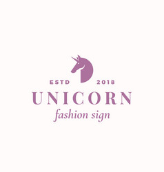 tiny unicorn abstract sign symbol or logo vector image