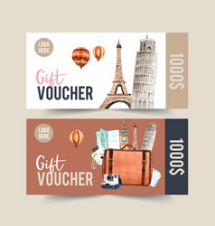 Tourism voucher design with leaning tower pisa vector