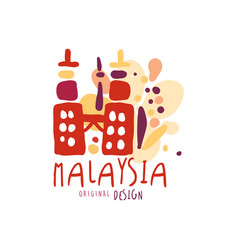 travel to malaysia logo with petronas twin towers vector image