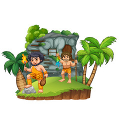 two cavemen at the rocky house vector image