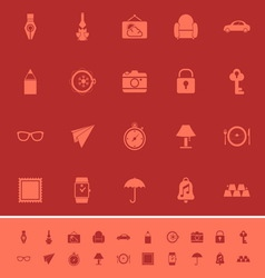 Vintage collection color icons on maroon vector