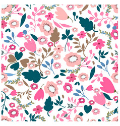 vintage pink and jungle flower seamless pattern vector image