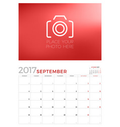 wall calendar planner template for september 2017 vector image