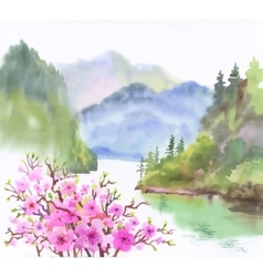 Watercolor landscape of river with flowers vector