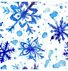Watercolor snowflake seamless pattern vector