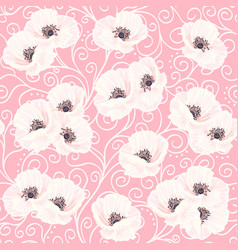 White anemones on the pink seamless pattern vector