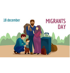 World migrants day concept banner cartoon style vector