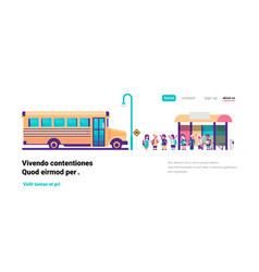 yellow bus station back to school pupils transport vector image