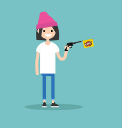 young female character holding a toy gun with a vector image
