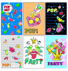 colorful fashion patches posters vector image vector image
