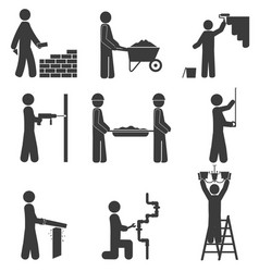 construction icons renovation plumbing vector image vector image