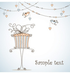 greeting card with cute birds vector image vector image