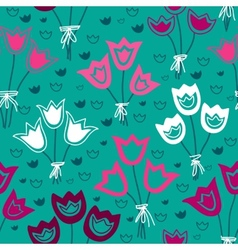 seamless pattern with bunches of tulips on a green vector image