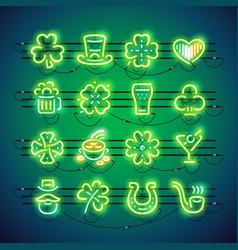 St patrick neon icons vector