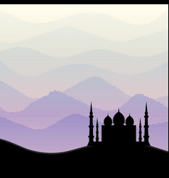 sunrise background with mosque silhouette vector image