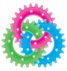tree colored gears vector image