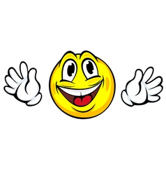 Yellow smiling face with hands in cartoon style vector image vector image
