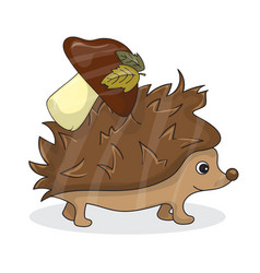 cartoon image of a cute brown hedgehog with vector image