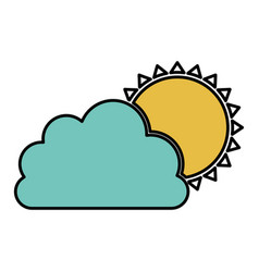 color cloud with sun icon vector image vector image