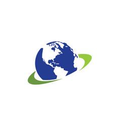earth planet logo vector image vector image