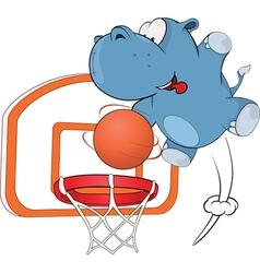 little hippo basketball player cartoon vector image