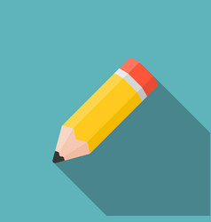 pencil icon with long shadow vector image