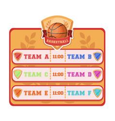 placard on the basketball courtbasketball single vector image