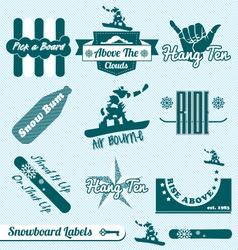 Retro Snowboarding Labels vector image vector image