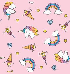 unicorn rainbow and magic wand pastel colors vector image vector image