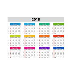 desk calendar for 2018 year design print template vector image vector image