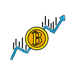 financial arrow up to bitcoin currency vector image