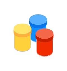 Gouache in jars icon isometric 3d style vector image vector image