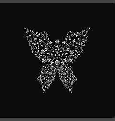 ornamental butterfly sign floral design vector image