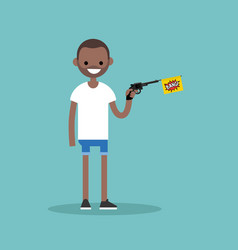 young black character holding a toy gun with a vector image