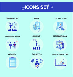 business icons set team communication employess vector image