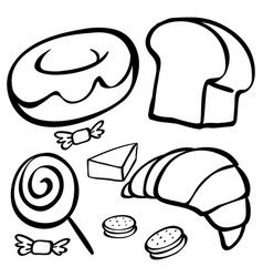 doodles for different types of desserts vector image