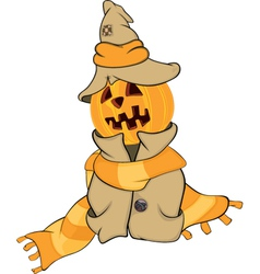 Ghost and a pumpkin cartoon vector image vector image
