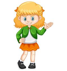 Little girl in green jacket vector