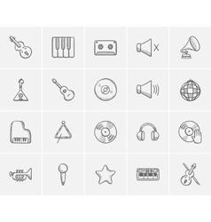 Media sketch icon set vector image