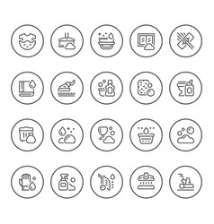 set round line icons of cleaning vector image