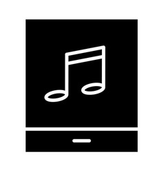 tablet with music note silhouette icon pictogram vector image vector image