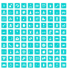 100 maternity leave icons set grunge blue vector