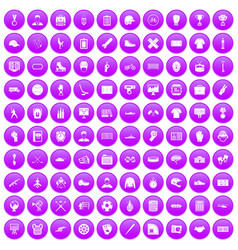 100 mens team icons set purple vector image