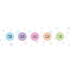 5 debit icons vector