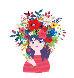 a spring girl in a wreath flowers for banner vector image